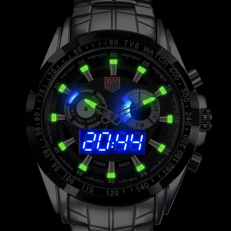 Upgraded version Luminous TVG City Hunter Led Quartz Wristwatch Men Fashion Sapphire Waterproof Dual Time man Military Watches мужская классическая рубашка fashion city 2015new
