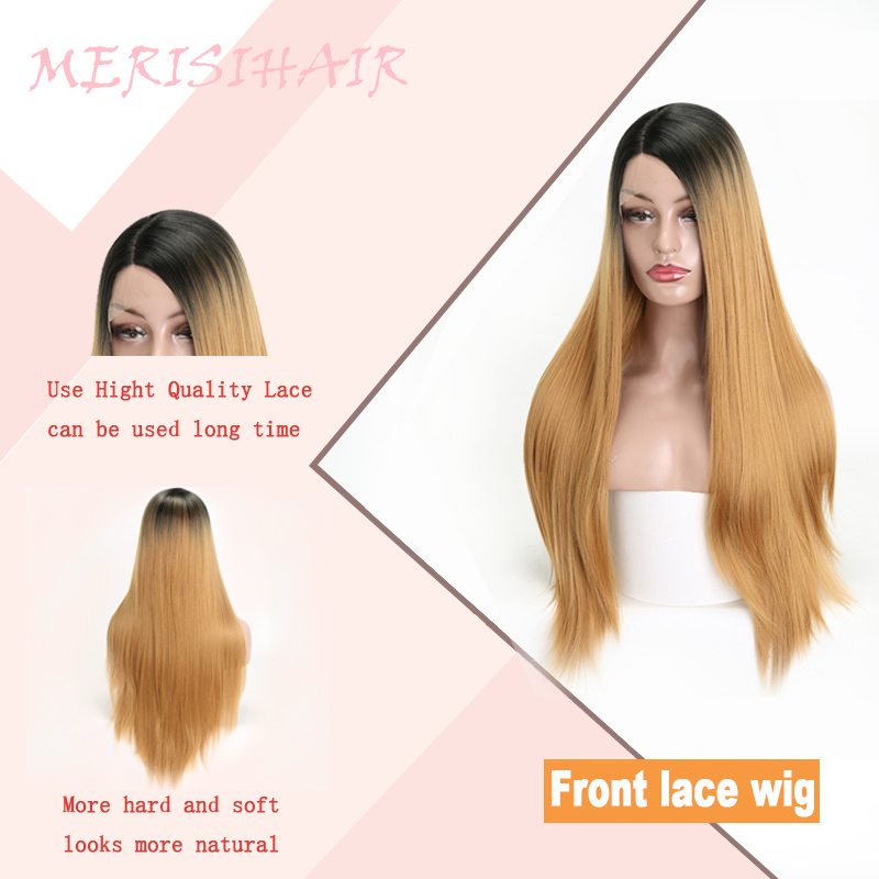 MERISI HAIR Synthetic Lace Front Wig Long Straight Blonde Wigs For Women  Heat Resistant Hair Wig Synthetic For Women Daily -in Synthetic None-Lace  Wigs from ... 6a8c95aade61
