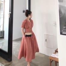 2019 mujeres verano Vintage estilo francés vestidos Slim cintura con faja botón frontal cuello pico vestido de vacaciones Retro de lino