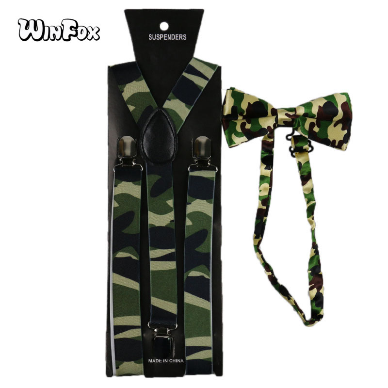 Winfox Vintage 2.5cm Wide Camouflage Suspender Bow Tie Set Women Men Military Tactical Bowtie Brace Camo Suspensorio