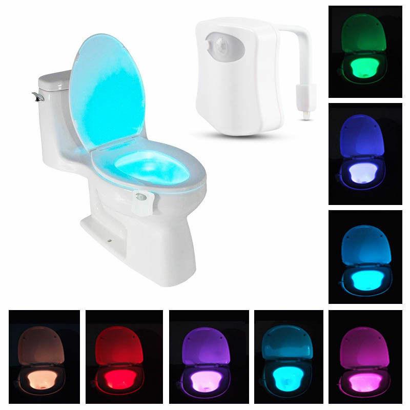 Bowl Bathroom Toilet Night LED Colors Lamp Sensor Lights Motion Activated Light