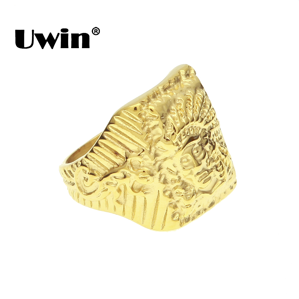 Uwin Vintage Tribe Apache Indian Chief Gold Color Punk Rings Stainless Steel Rocker Mens Size 8-11 Hiphop Fashion Finger Jewelry