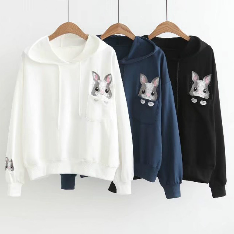 Mode Streetwear femmes à manches longues à capuche sweat Kawaii lapin impression pull pull Moletons De Anime