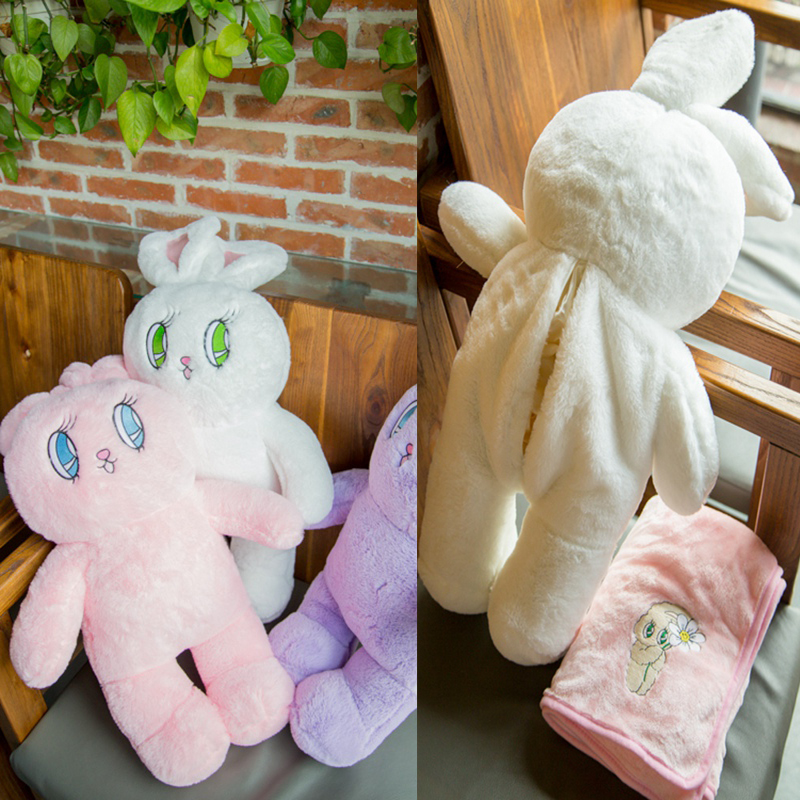 Wego super-macio veludo grande coelho incluindo tapete de três cores clássico dos desenhos animados animal travesseiro cobertor 75cm