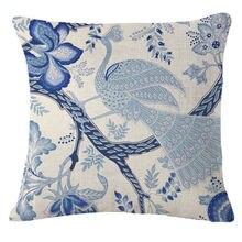Vintage tejido de lino para funda de almohada de algodón estampado funda de almohada con flores azules pájaros funda de almohada sofá cojín para cintura funda decoración de coche para el hogar