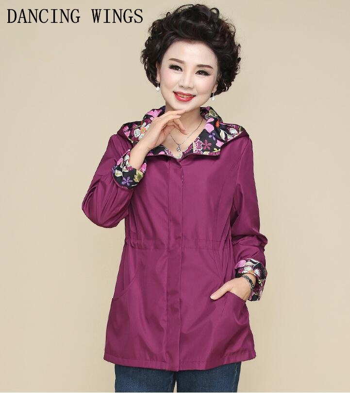 Autumn long-sleeved Hooded jacket plus size 5xl Loose casual middle-aged womens Large size windbreaker purple blue