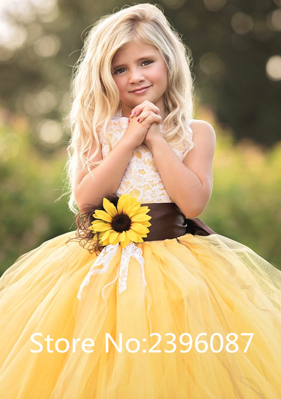 Yellow Sunflower Little Girls Ball Gown Flower Girl Dress Sleeveless Lace tulle Flower Girl Dresses Vestidos de comunion 2019