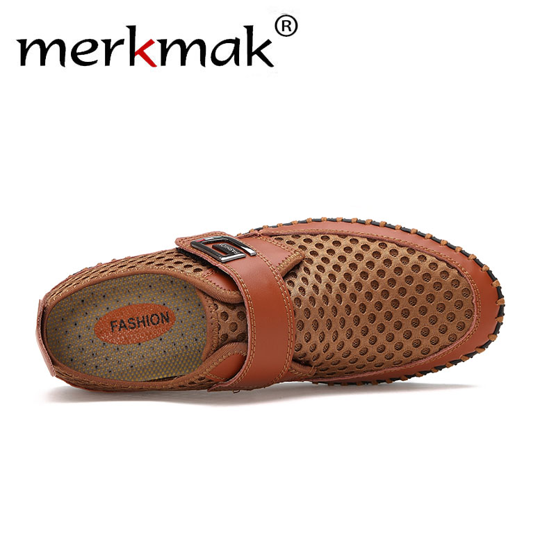 Merkmak Genuine Leather Summer Shoes Men Flats Loafers Breathable Casual Chaussure Homme Real Leather Driver Men Moccasins Shoes