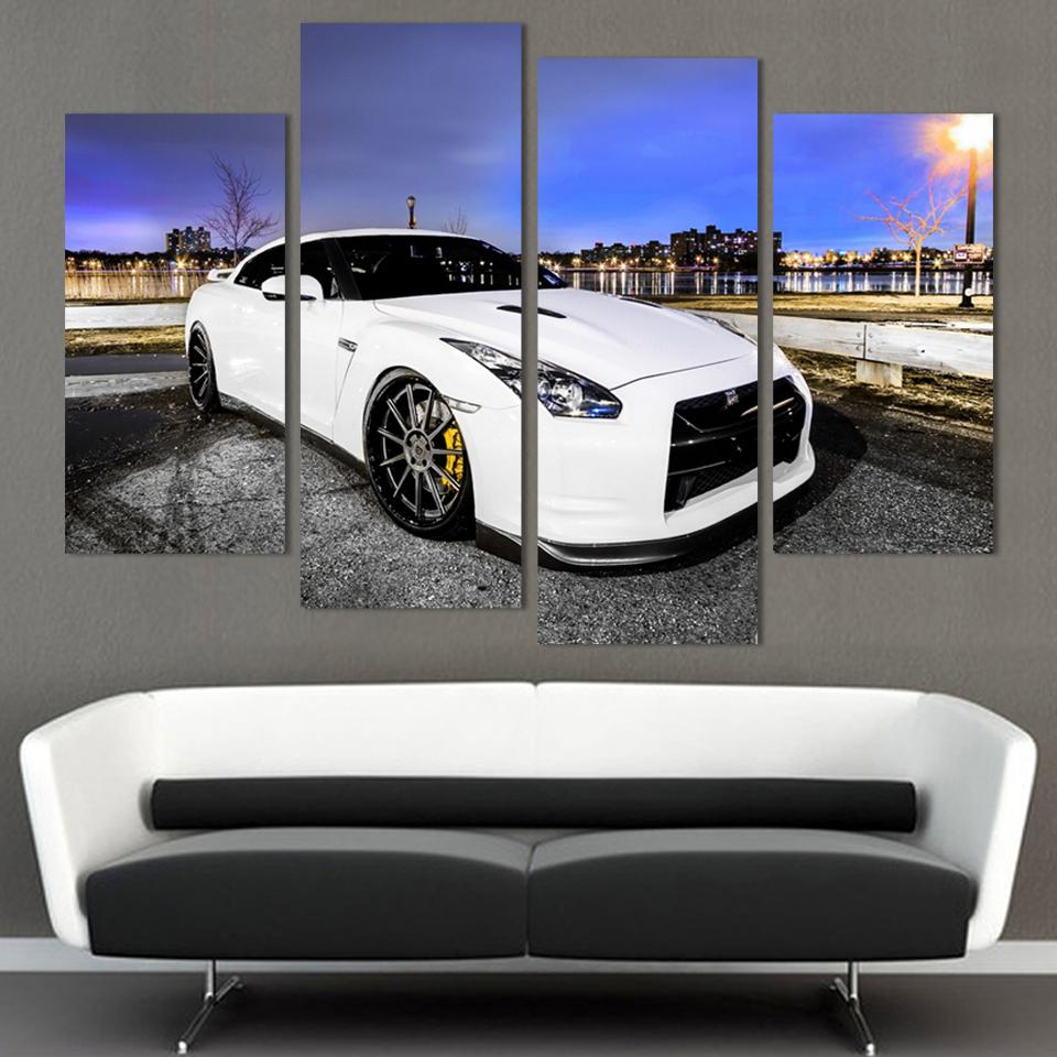 4 Pcs White Sports Car Wall Art painting Home Decoration Living Room Canvas Print Painting on canvas Wall picture no frame