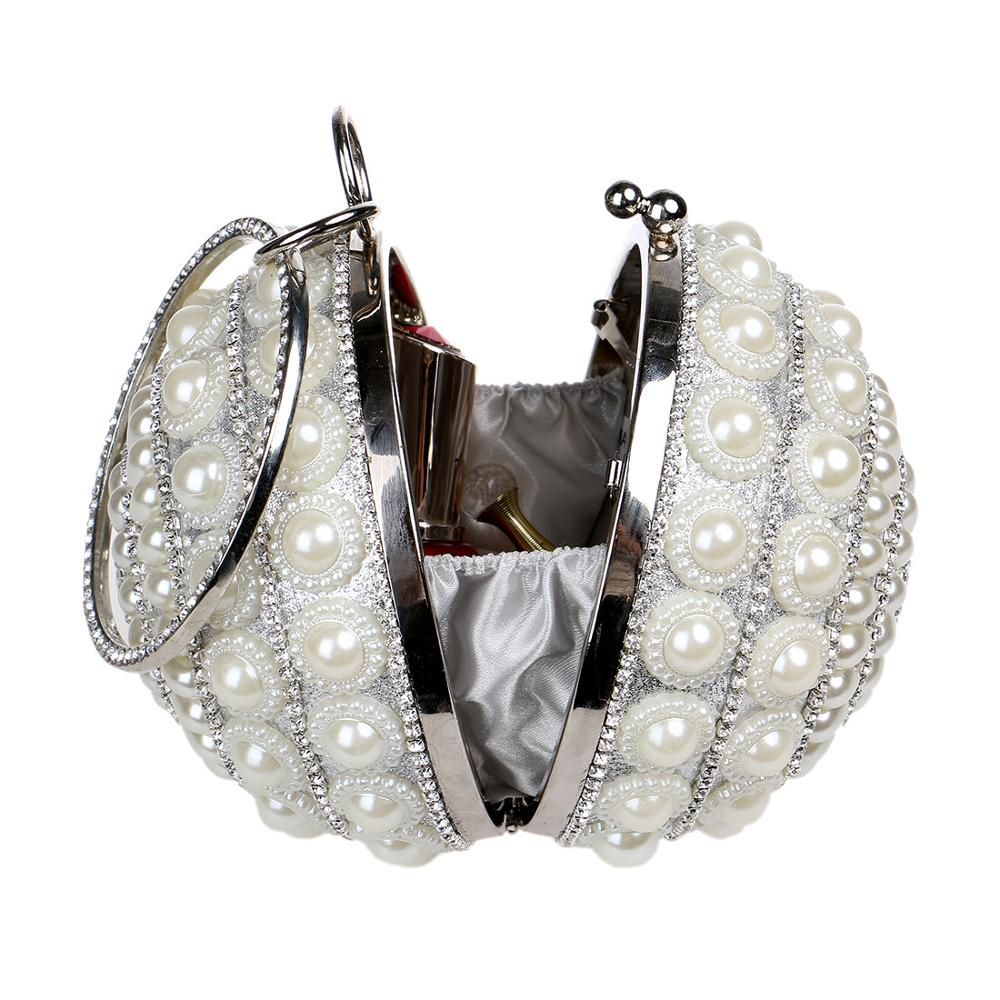 Fashion Girls Little Coin Purse Small Mini Bag Pearl Wallet Bags Glitter Spherical Women Banquet Handbag White Black Gold in Coin Purses from Luggage Bags