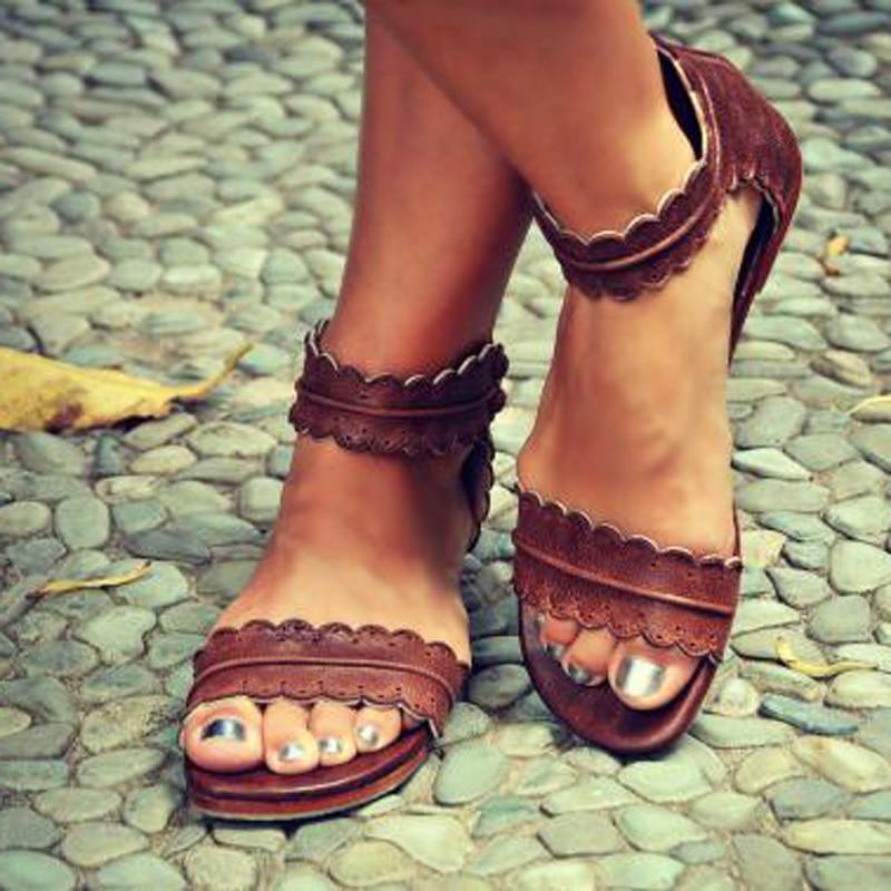Женские летние Сандалии для девочек без каблука Ремешок на щиколотке повседневная обувь Молния сзади на молнии модная обувь AB17