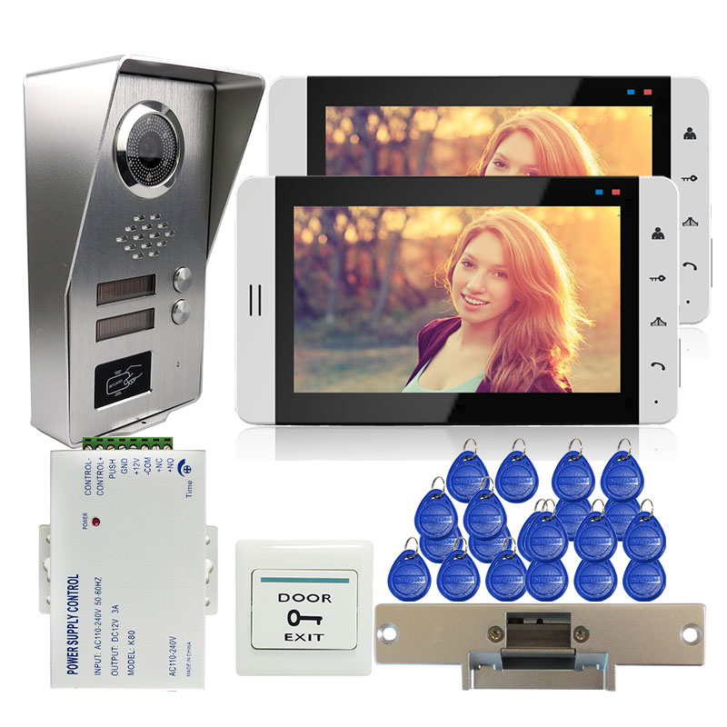 Grenseure FREE SHIPPING 7 LCD Video Door Phone Intercom 2 Monitors + Outdoor RFID Doorbell Camera for 2 Apartment Strike Lock free shipping new 7 video door phone intercom with 4 monitors 1 waterproof doorbell camera for 2 household apartment family