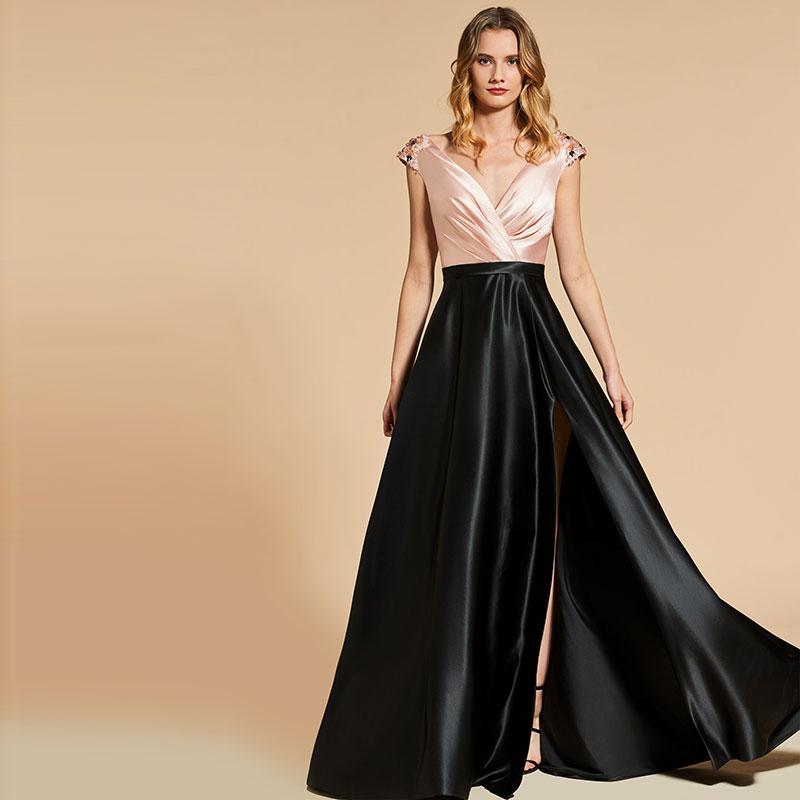 41cc37e79523324 Tanpell v-образный вырез Вечернее платье отделка из бус без рукавов  молния-вверх Сплит