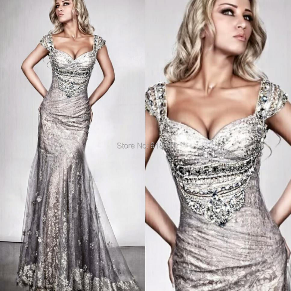 2198c0aef Sexy Evening Dresses with Cap Sleeves Silver Lace Mermaid Formal Dress  Sweetheart Backless Evening Gown with Appliques in Bodice on Aliexpress.com