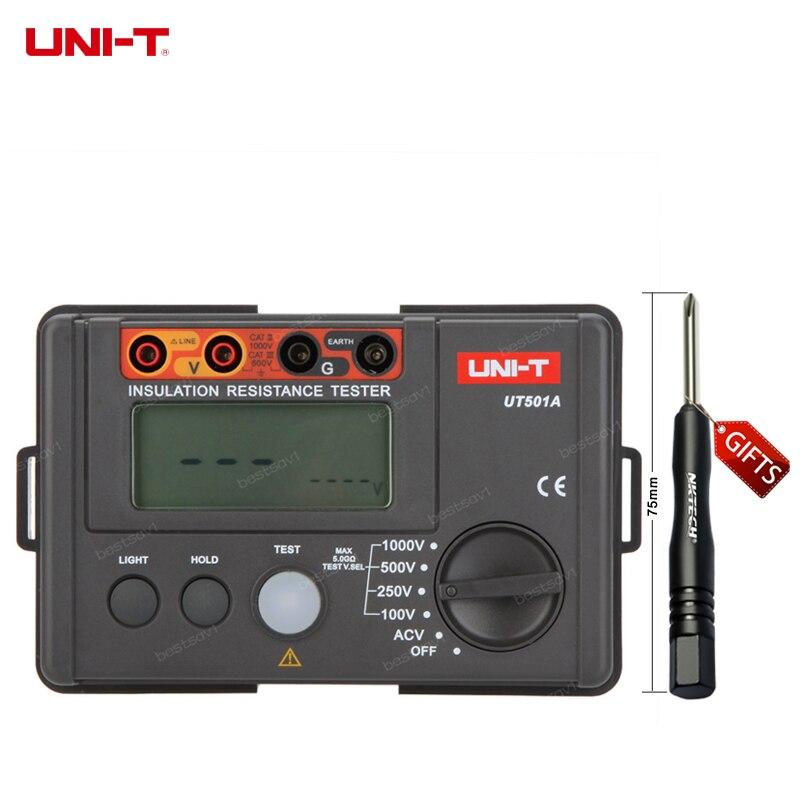 UNI T UT501A 1000V Insulation Resistance Meter Ground Tester Megohmmeter Voltmeter w LCD Backlight