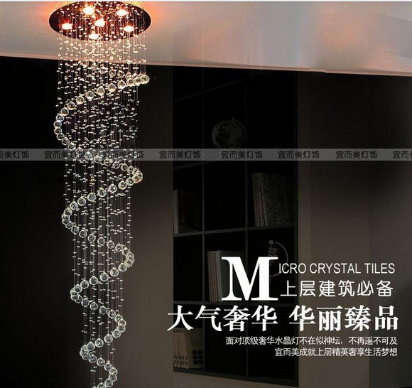 EMS FREE SHIPPING Stair lamp k9 crystal lamp stair lamp pendant light spiral crystal pendant lamp living room lights free shipping rotating 681 bohemia stair lamp crystal large pendant light