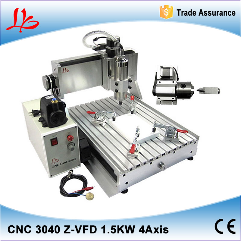 1500W spindle + ball screw + 4 axis cnc 3040 engraving machine,water-cooling system cnc router milling lathe