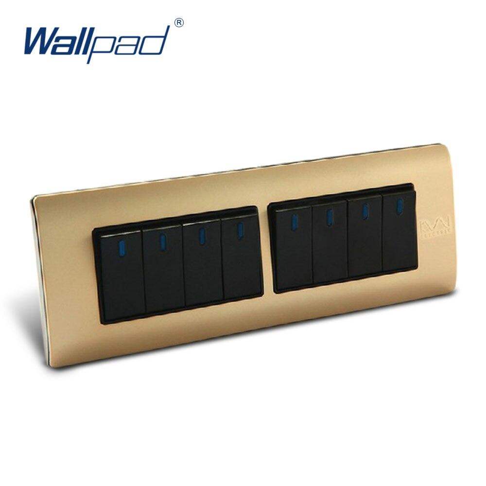 Free Shipping, Wallpad Luxury Wall Switch Panel, 8 Gang 2 Way Switch, Plug, Socket, 197*72mm, 10A, 110~250V  free shipping wallpad luxury wall switch panel 6 gang 2 way switch plug socket 197 72mm 10a 110 250v