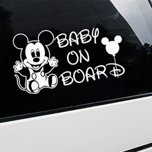 цена на mickey sticker baby On Board Car stickers Decal Mural Vinyl Cover for the car body window sticker car accessories car decoration