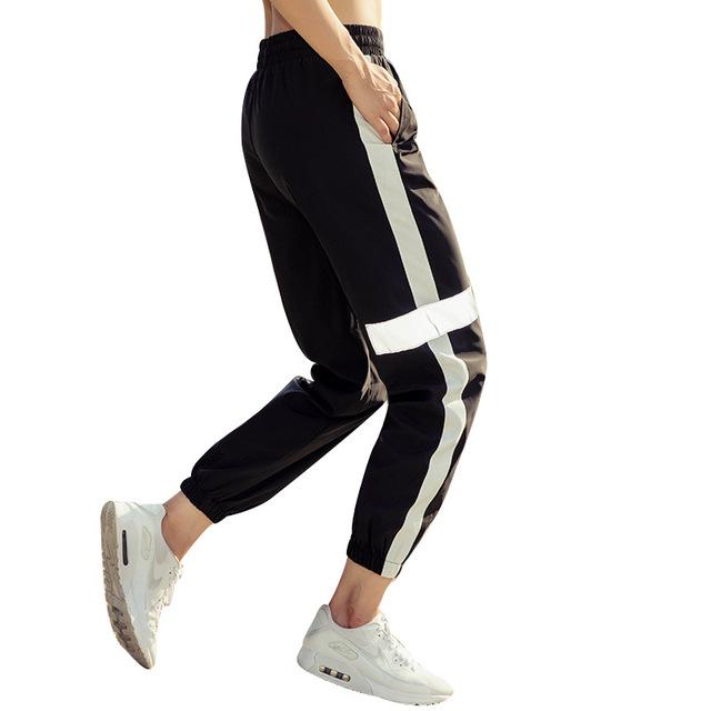 Women's Sports Running Fitness Yoga Pant Loose Trousers Quick-drying Breathable Reflective Jogger Pants 2018 New 4