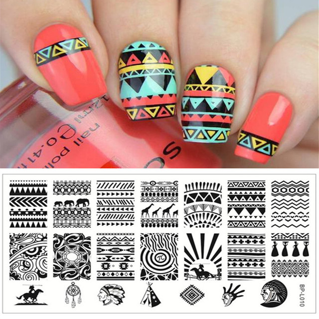 1 Pc Cool Aztec Tribal Pattern Nail Art Stamp Template Image Plate ...