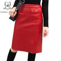 Демисезонный овчины пояса из натуральной кожи юбки для женщин для черный, красный пикантные Тонкий облегающий талию, бедра ПР женский миди