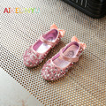 2017 Children Rhinestone wedding shoes Kids spring leather shoes girls bowtie party shoes girl Princess flat Single shoes Golden