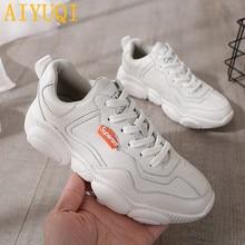 AIYUQI Women casual shoes 2019 new spring genuine leather women flat shoes, white fashion vulcanized sports