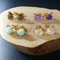 WT-E122New Natural rose quartz amazonite amethyst citrine stone  studs with 24k gold electroplated prong setting