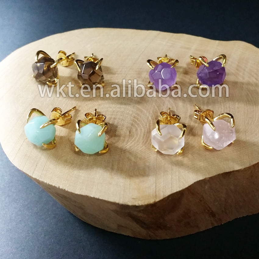 WT E123 Natural  Gem  stone Stud Earring Amazonite Cry stal Natural Stone Studs with 24k gold electroplated prong setting-in Stud Earrings from Jewelry & Accessories    1