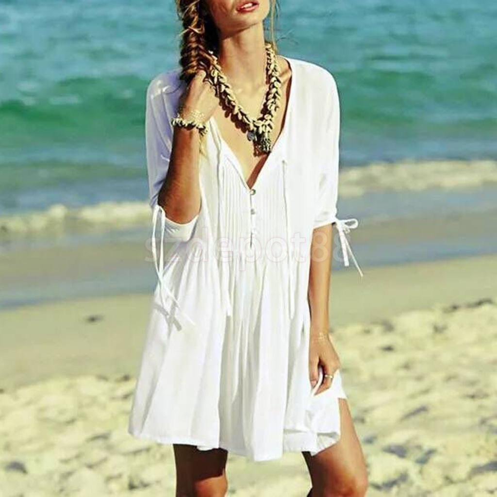 White Cotton Dress Middle Sleeve Bathing Suit Bikini Cover Up Beachwear S-XL