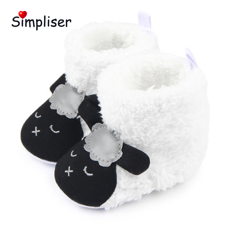 Soft Plush Baby Snow Boots Velcro Ankle Boots for New Born Girls Boys Cute Panda Sheep First Walkers Toddle Shoes Pink Black