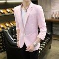 Мужская blazer 2017 новый slim fit розовый плед пиджак корейский мода небесно-голубой пиджак Мужской случайные куртки одноместный груди размер M-3XL