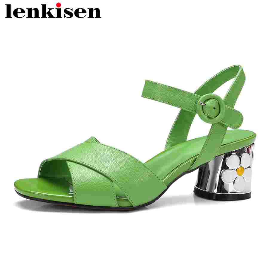 Lenkisen preppy style peep square toe med flowers heels buckle strap sweet solid campus plus size