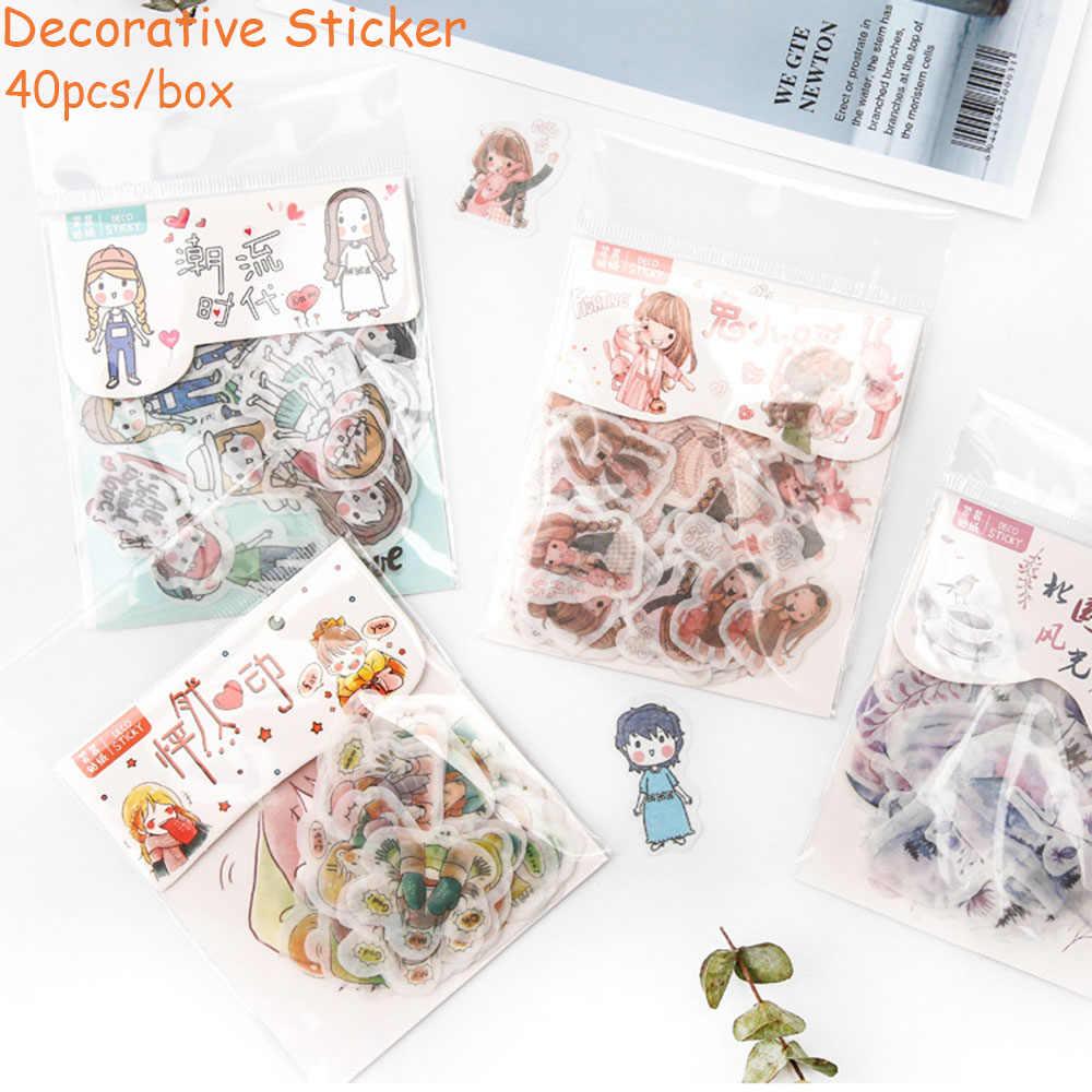 12 styl 40 sztuk/pudło ręcznie konto i naklejki papierowe paczka kreatywny ręcznie konto DIY materiał dekoracyjny naklejki papierowe
