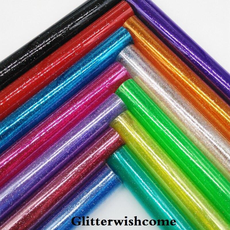 Glitterwishcome 21X29 см A4 Размеры синтетическая кожа, видеть сквозь блестящие виниловые для Луки, GM062A