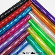 Glitterwishcome 21X29 CM A4 Tamanho de Couro Sintético, Ver Através de PVC Glitter Vinil para Arcos, GM062A