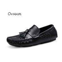 Ovxuan Genuine Leather Men Shoes Casual Slip On Party Dress Male Flats Shoes Tassels Men Loafers