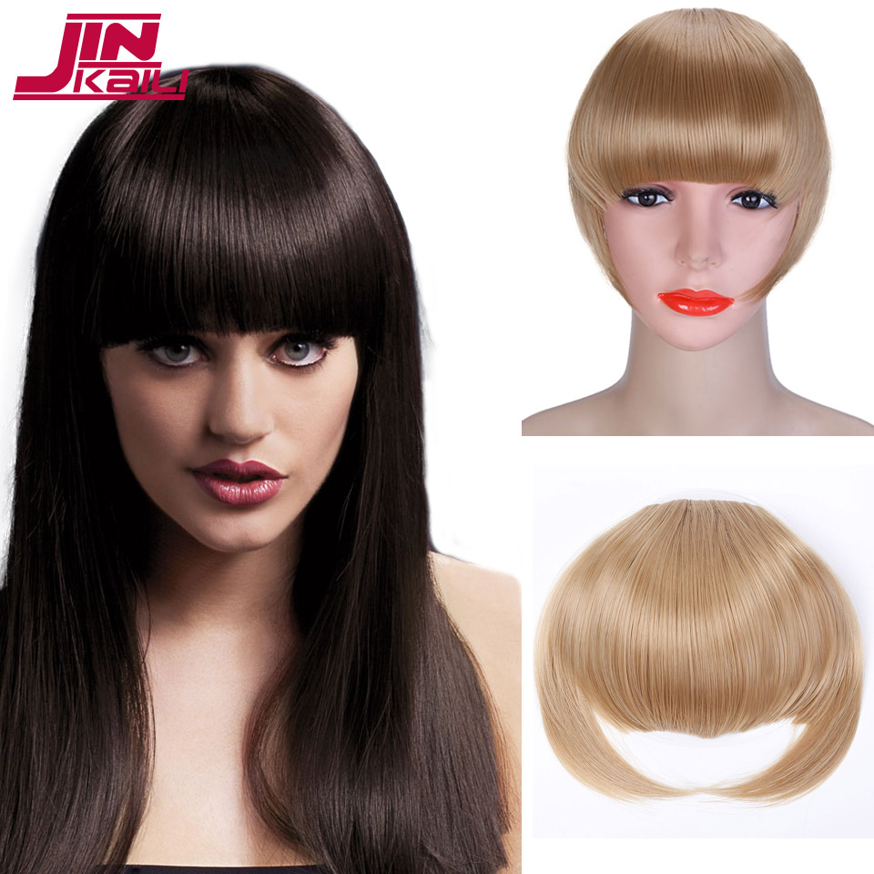 JINKAILI Thick Natural Bang False Hair Bangs Synthetic Hairpieces With Braiding Hair Hoo ...