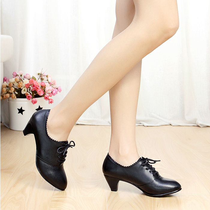 Size 35 42 Women Pumps Woman Work Office Shoes Genuine Leather Thick Low Heeled Ankle Plus In S From On