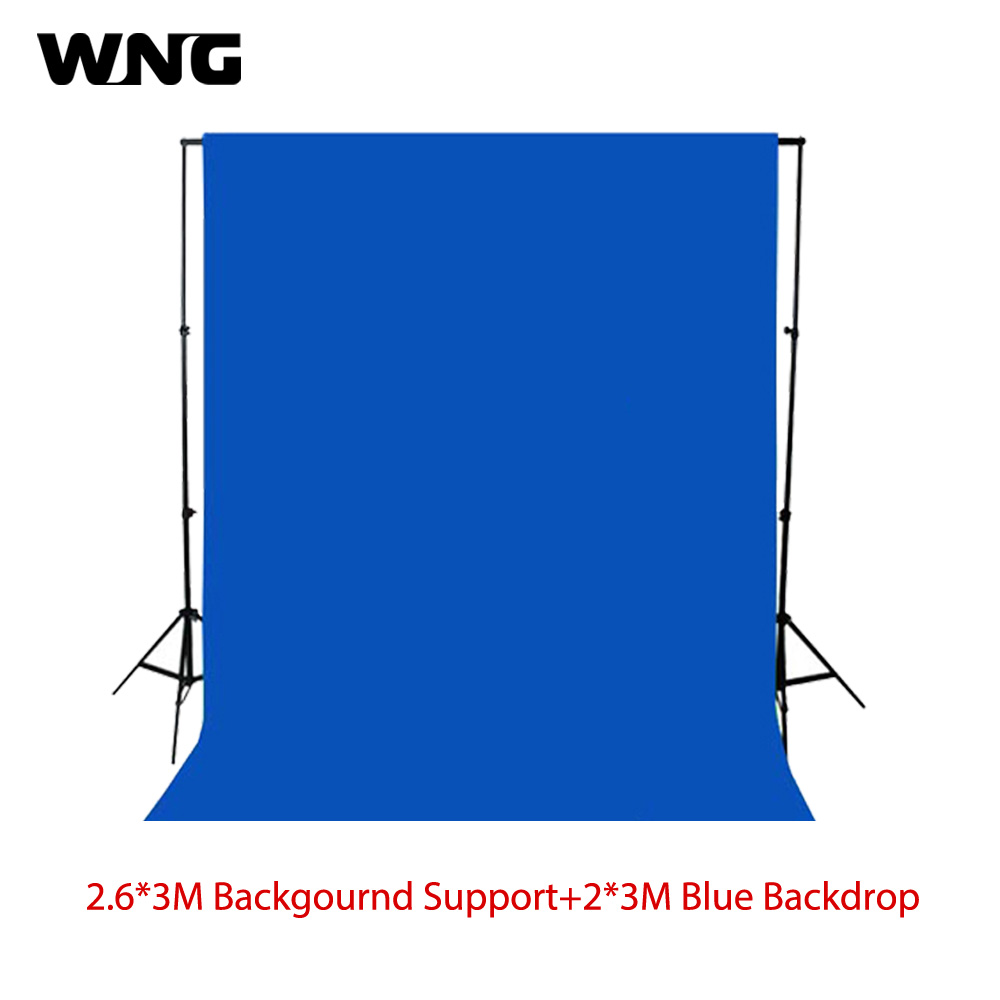 2 6m 3m Photography Background Cloth Backdrop Stand Set with 2 3M Solid Screen Black Blue