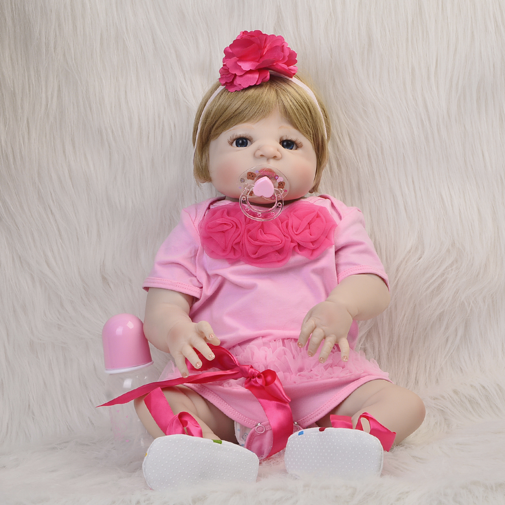23 Inch Gold Hair Bebe Reborn De Silicone 57 Cm Fashion Reborn Baby Doll Realistic Newborn Doll Toy For Girl Kids Gift Can Bathe good price 45cm 18inch reborn baby girl doll with light blue race dress fashion brinquedo de bebe for kids as christmas doll toy
