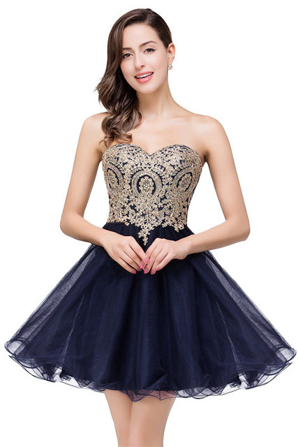 2019 Vintage A-Line Elegant   Cocktail     Dresses   Sweetheart Sleeveless   Cocktail     Dress   Crystal Beaded Appliques Ruffles Skirt Navy