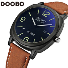 Top Brand Luxury Leather Strap Men's Quartz Fashion Casual Sports Army Watches Men Military Wrist Watch Relogio Masculino DOOBO