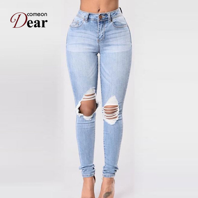 Comeondear Ripped Jeans for Women Spodnie Damskie Jeansy Pantalones  Vaqueros Mujer TB2457 Ladies Light Blue Skinny 2fc2a9a1b43a