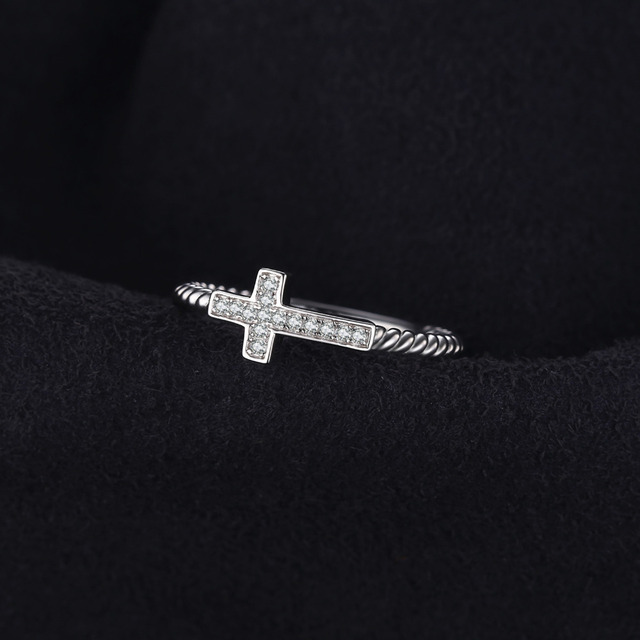 JewelryPalace Cross Rings Cubic Zirconia 925 Sterling Silver Rings Fashion Ladies Girls Women Jewelry Faith Love Peace Fine Gift