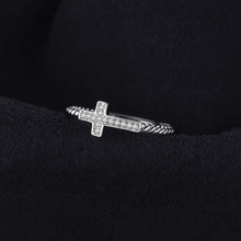 Cross Round Cubic Zirconia Peace Statement Ring For Women Jewelry Real 925 Sterling Silver Fashion Women Jewelry