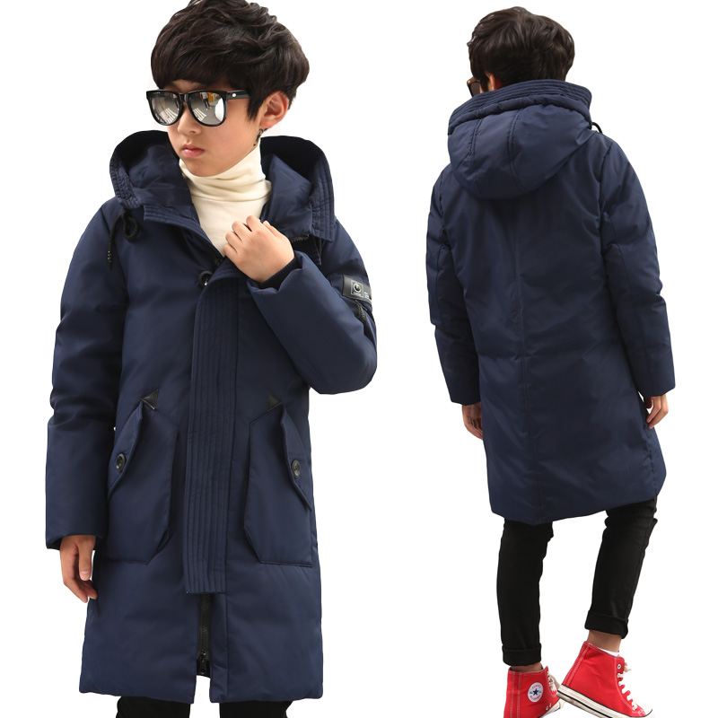 Russian Winter Jackets Boy Duck Down Padded Jacket Big Boys Warm Parkas Winter Down Coat Thickening Hooded Outerwear 2015 new hot winter cold warm woman down jacket coat parkas outerwear hooded loose luxury long plus size 2xxl splice cloak