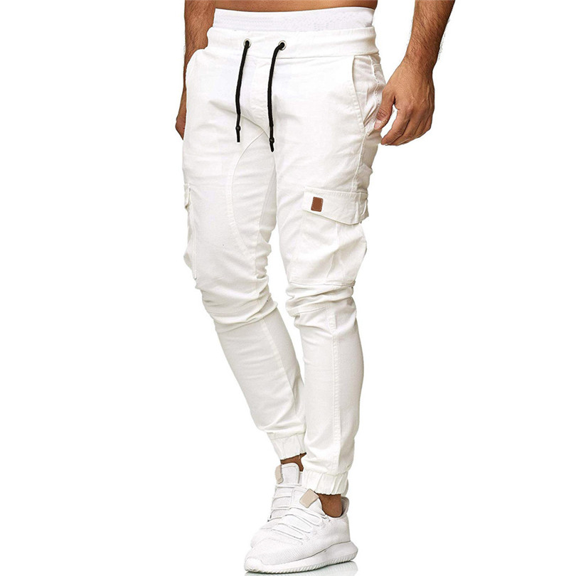 Men Pants 2019 Summer Sweatpants Fashion Casual Elastic Jogging Sport Solid Baggy Pockets Straight Trousers Long Pants #Jun07
