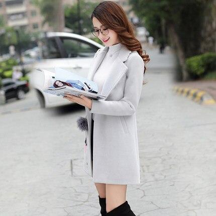 Coréenne 2018 Femelle Hiver Veste 2 1 Laine Était Manteau Version Longue Nouveau Il Mince Section De PfAPr